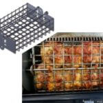 lunchbox charcoal grill is best small charcoal grill for bbq, rotisserie and traditional grilling. Made in U.S.A. and cooks chicken, prime rib, pork roast, turkey, steak and hamburgers on stainless steel grates and rotisserie.