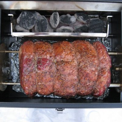 prime rib is great grilled on the Lunchbox Charcoal Grill is the best small charcoal grill for tailgating, beach parties, rotisserie grilling, BBQ ribs, chicken, pork, steaks and chicken thighs and drumsticks, made in the u.s.a.