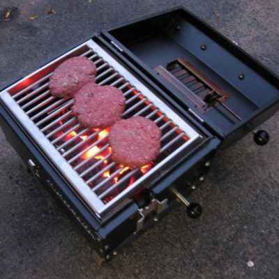 best grilled burgers ever on the Lunchbox Charcoal Grill is the best small charcoal grill for tailgating, beach parties, rotisserie grilling, BBQ ribs, chicken, pork, steaks and chicken thighs and drumsticks, made in the u.s.a.