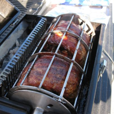 baby back ribs are great slow cooked on the Lunchbox Charcoal Grill is the best small charcoal grill for tailgating, beach parties, rotisserie grilling, BBQ ribs, chicken, pork, steaks and chicken thighs and drumsticks, made in the u.s.a.
